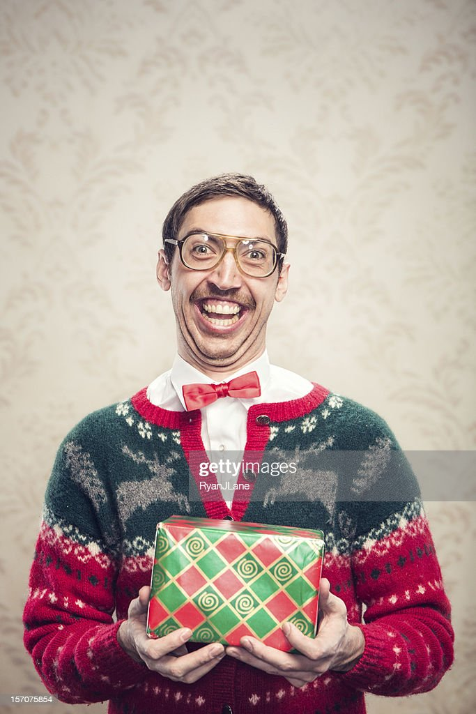 Christmas Sweater Nerd : Stock Photo