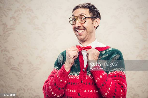 christmas sweater nerd - sweater stock pictures, royalty-free photos & images