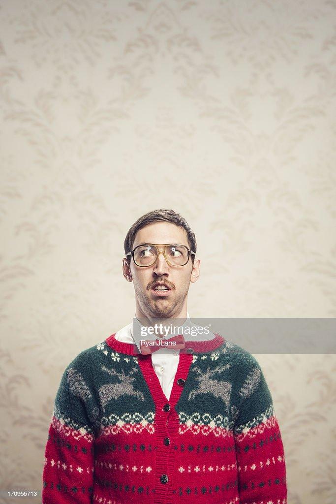 Christmas Sweater Nerd : Stock Photo