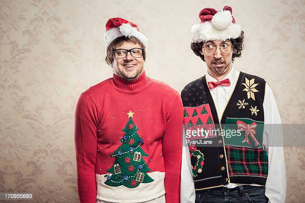 christmas sweater nerds - ugly people stock-fotos und bilder