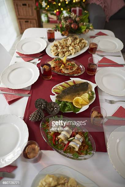 Christmas table full of traditional Polish dishes. Debica, Poland