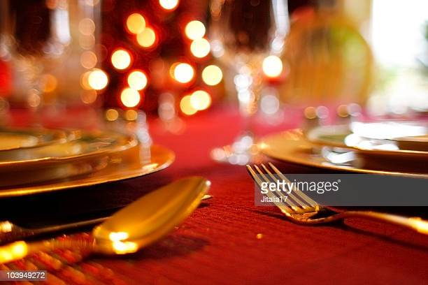Christmas Table Setting - Decorative Tablecloth and Flatware