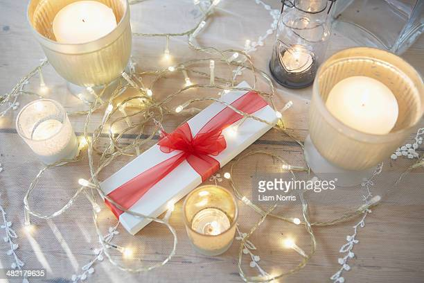Christmas table with decorative lights and candles