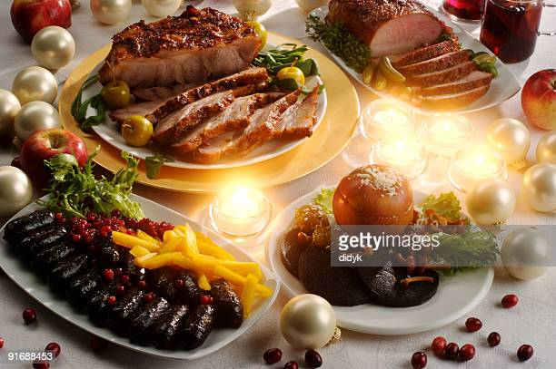 Christmas table with roasted pork