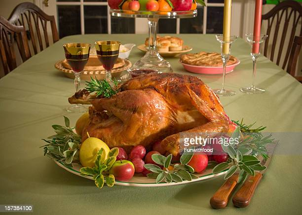 christmas & thanksgiving food, roast turkey dinner & holiday dining table - pinot noir grape stock photos and pictures