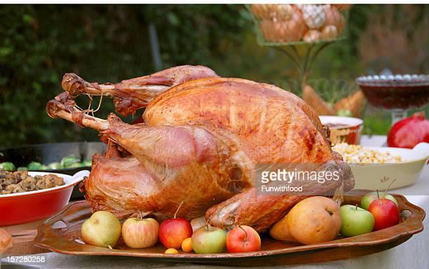 Weihnachten & Thanksgiving-Essen, Gebratener Truthahn Abendessen am Esstisch im Freien
