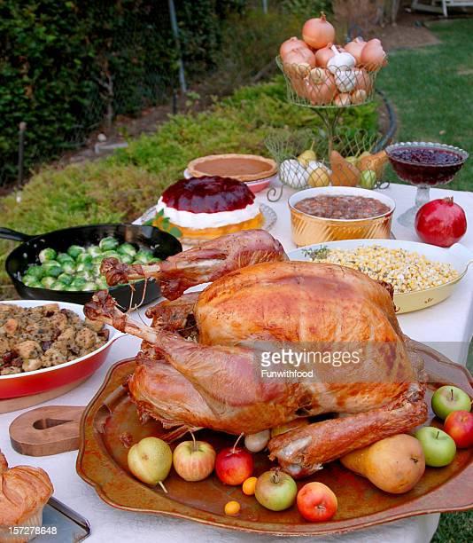 Celebración del Día de Acción de gracias, Navidad & comida asada Turquía cena tipo bufé, mesa