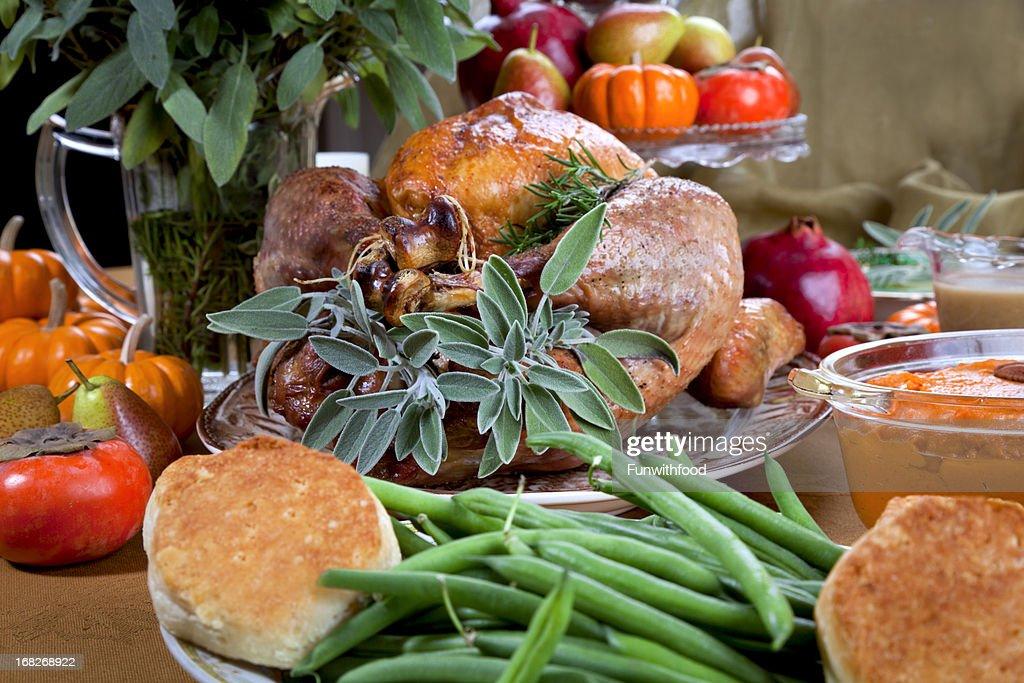 Christmas & Thanksgiving Roast Turkey Dinner : Stock Photo