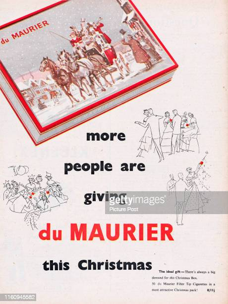 Christmas themed advertisement for du Maurier Cigarettes with the caption 'more people are giving du Maurier this Christmas' Original Publication...