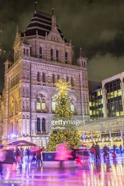 Christmas time decoration in London Evening outside of the Natural History Museum of London with Christmas decoration a carousel an Ice Rink and a...