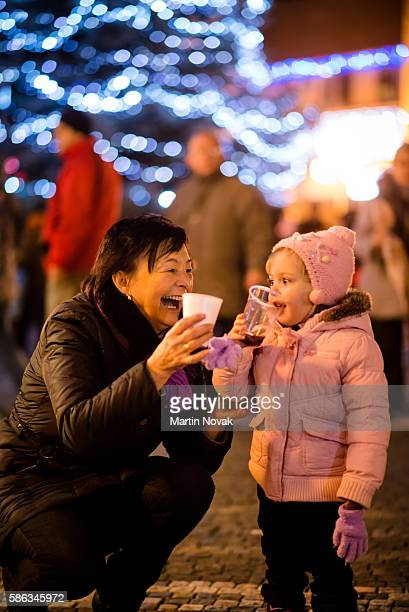 Christmas time - hot drink in street