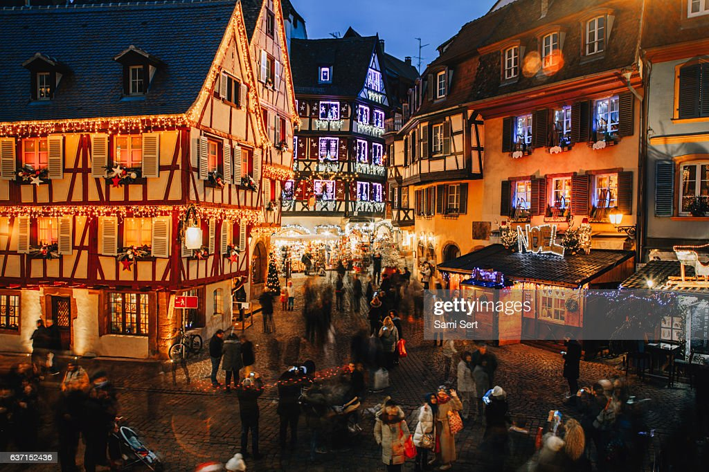 Christmas time in Colmar, Alsace, France : Stock-Foto