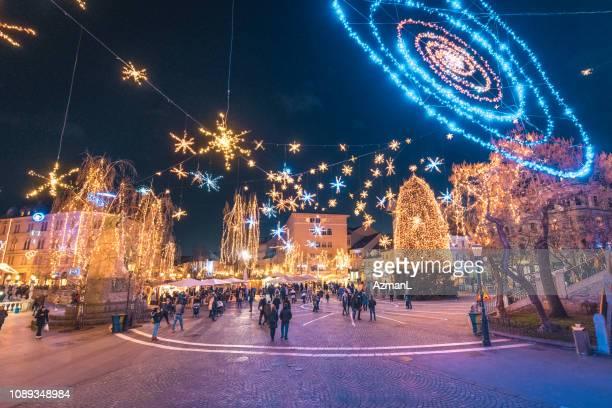 christmas time in ljubljana, slovenia. - slovenia stock pictures, royalty-free photos & images