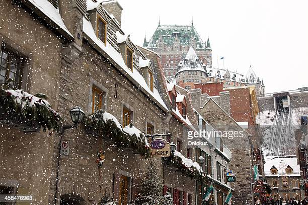 christmas time inside old quebec city - old quebec stock pictures, royalty-free photos & images