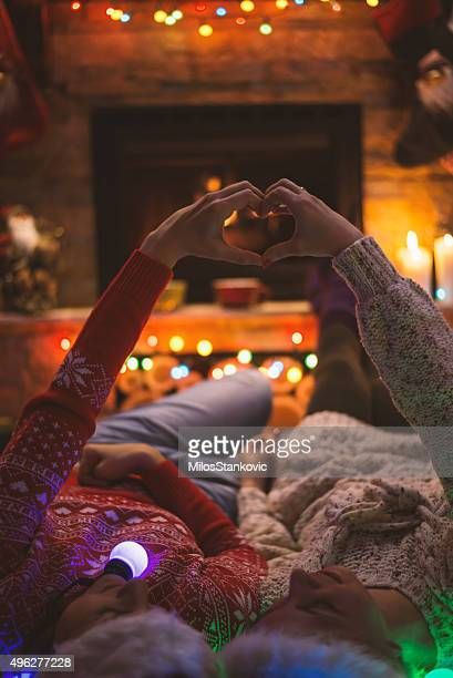 christmas time with best friend - heart month stock photos and pictures