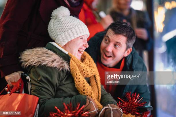 christmas time with father and daughter - als stock photos and pictures