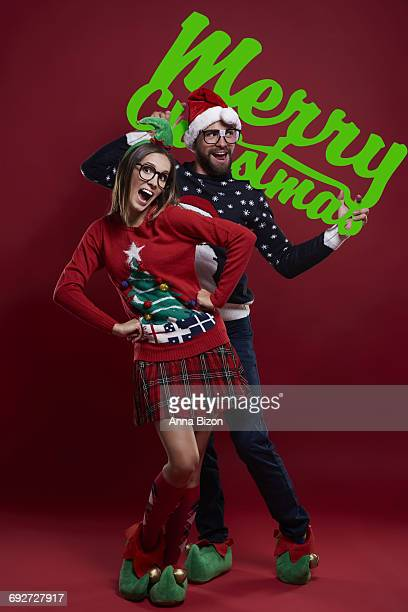 christmas time with funny couple debica poland
