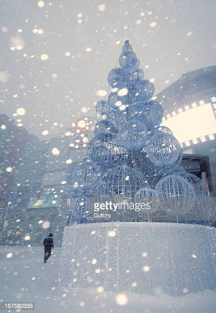 Christmas time with snowstorm in Downtown Toronto