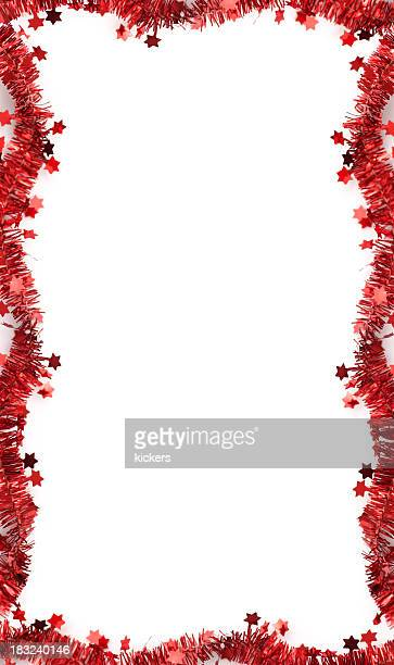 christmas tinsel frame, isolated - tinsel stock pictures, royalty-free photos & images