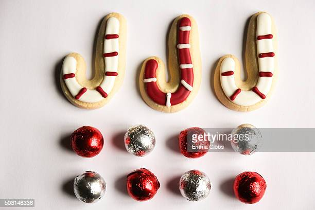Christmas treats arranged in straight lines