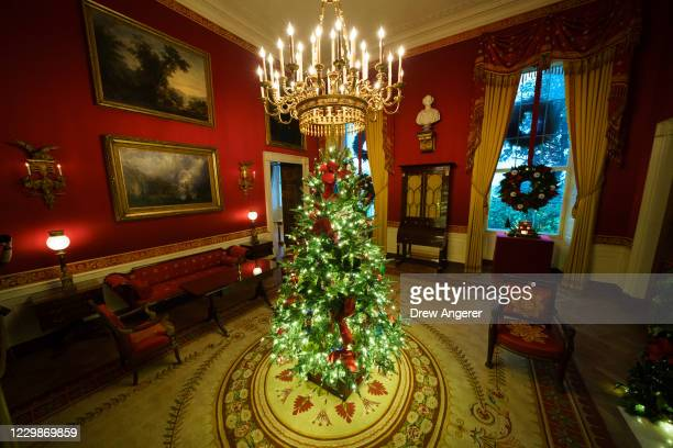 Christmas tree and decorations are on display in the Red Room of the White House on November 30, 2020 in Washington, DC. This year's theme for the...