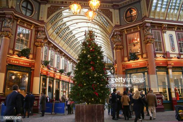 Christmas tree and decorations seen at the centre of Leadenhall Market Leadenhall Market is one of the oldest market in the London dating back to the...