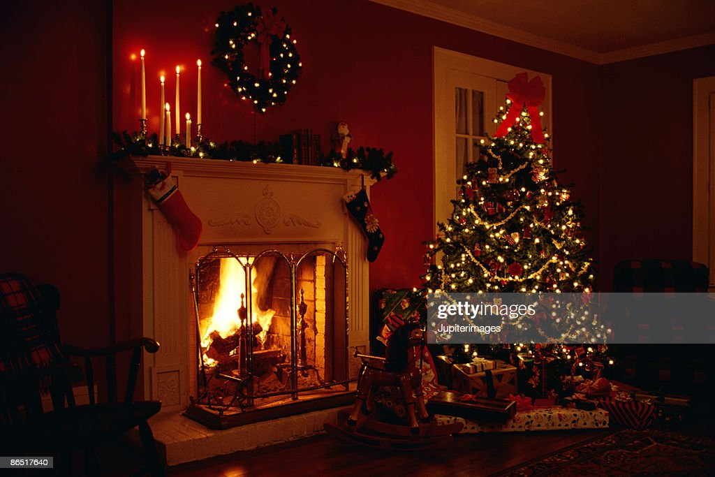 Christmas Tree And Fireplace Stock Photo