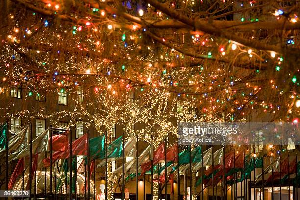 Christmas tree and flags, Rockefeller Center, New York City