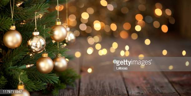 christmas tree and gold lights background - christmas stock pictures, royalty-free photos & images