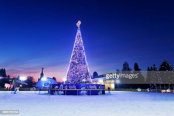 Christmas tree at ice rink in the Kyiv