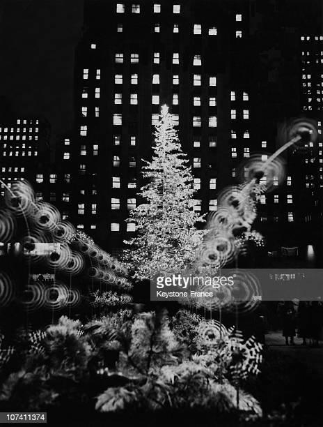 Christmas Tree At Rockefeller Plaza In New York On December 20Th 1949