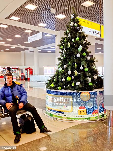 christmas tree at sheremetyevo airport, svo, moscow - christmas plane stock pictures, royalty-free photos & images