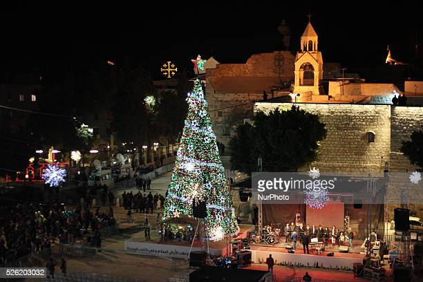 Christmas tree at the Manger square in the west bank city of Bethlehem