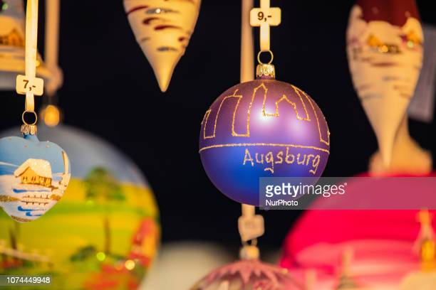 A Christmas Tree ball with Augsburg as caption Christmas Market in the Bavarian city of Augsburg It is placed next to the town hall