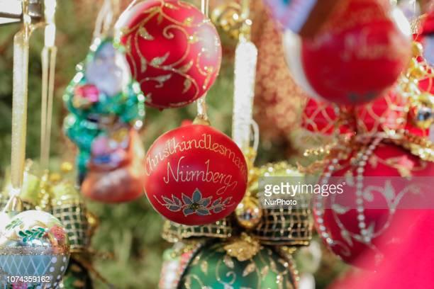 Christmas tree ball with the caption Christkindelsmarkt Nuernberg Christmas Market Nuremberg The worldfamous Christmas Market of Nuremberg was full...