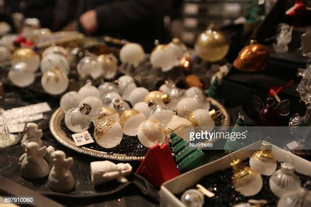 Christmas tree balls and other christmas tree decoration Last Day of the Christmas Market at quotChinesischer Turmquot in Munich on December 23 2017