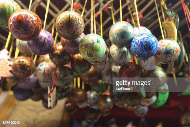 Christmas tree balls at a stand on the last Day of the Christmas Market at quotChinesischer Turmquot in Munich on December 23 2017