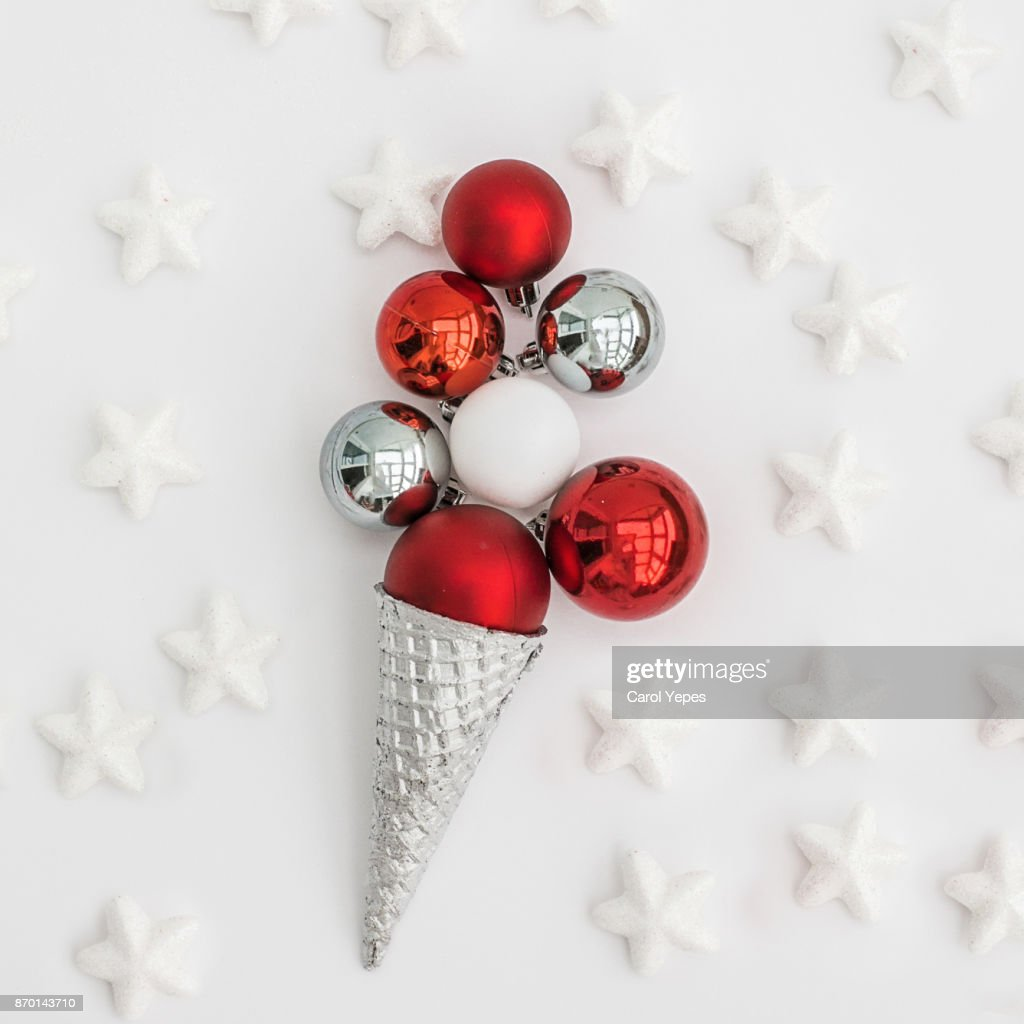 Christmas Tree Balls In A Ice Cream Cone Stock-Foto | Getty Images