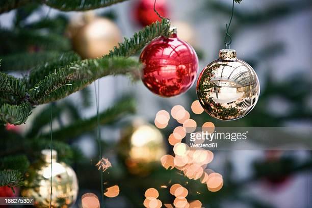 Christmas tree balls on christmas tree, close up