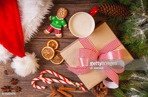 Christmas tree branch with snow and gift box