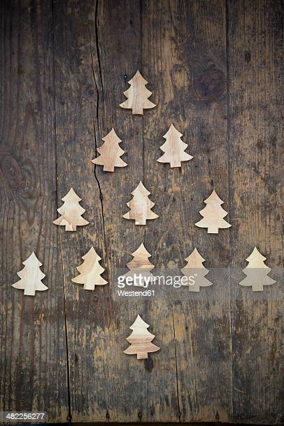 Christmas tree built of little wooden fir trees