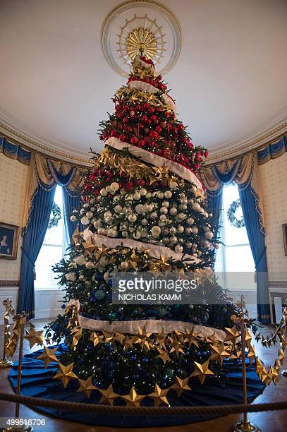 A Christmas tree decorated in red white and blue stands in the Blue Room at the White House during a preview of the 2015 holiday decor in Washington...