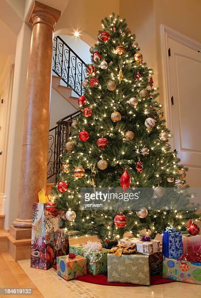 christmas tree decoration at home - trappen stockfoto's en -beelden