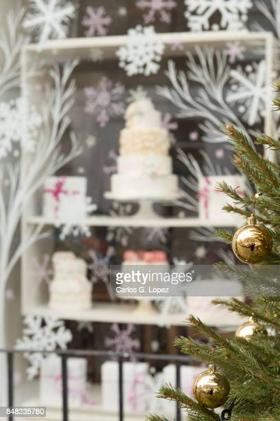 Christmas tree decorations and cake display on window - Christmas Shopping