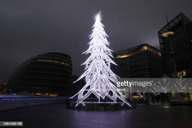 Christmas tree decorations in London city center