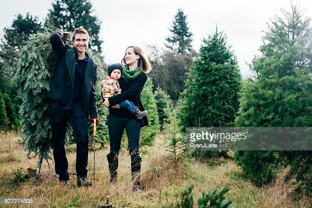 Weihnachtsbaum Familie im Tree Farm