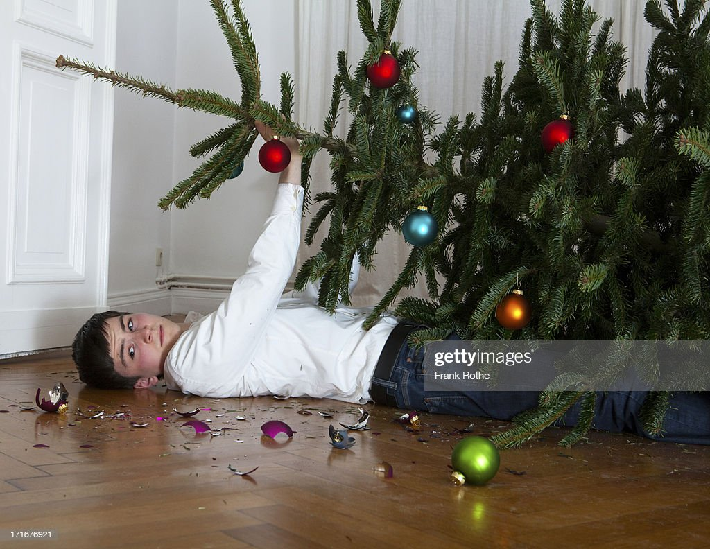 Christmas tree fell on young man stock photo getty images