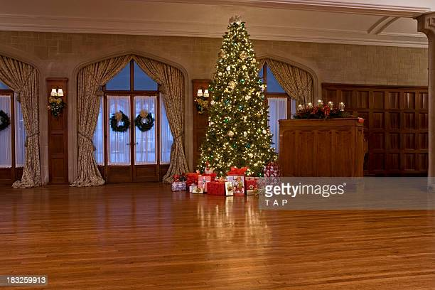 christmas tree in 1900's period house - hardwood stock pictures, royalty-free photos & images