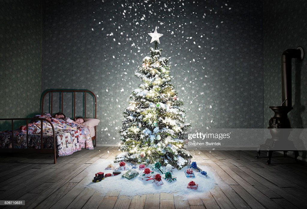 Christmas tree in child's bedroom with snow : Stock Photo