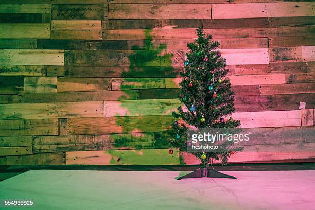 christmas tree in coloured light - heshphoto stock pictures, royalty-free photos & images